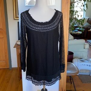 Max Studio Lined, Lacy Top